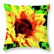 Sunflower Sunburst Throw Pillow