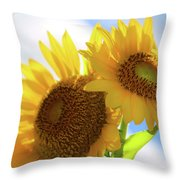 Sunflower Twins Throw Pillow