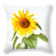Sunflower Watercolor Throw Pillow