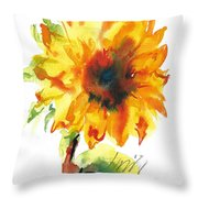Sunflower With Blues Throw Pillow