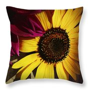 Sunflower With Dahlia Throw Pillow