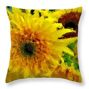 Sunflowers - Light And Dark Throw Pillow