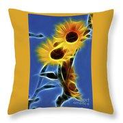Sunflowers-4969-fractal Throw Pillow
