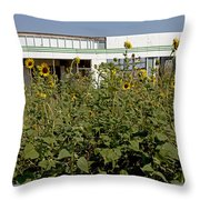 Sunflowers And Abandoned Gas Station Throw Pillow