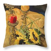 Sunflowers And Apples Throw Pillow
