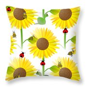 Sunflowers And Bees Throw Pillow