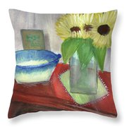 Sunflowers And Blue Bowls Throw Pillow