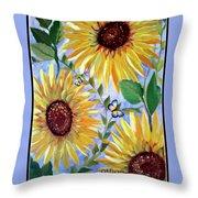 Sunflowers And Butterflies Throw Pillow