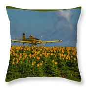 Sunflowers And Crop Duster Throw Pillow