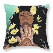 Sunflowers And Dashiki Throw Pillow