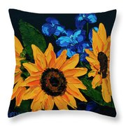 Sunflowers And Delphinium Throw Pillow