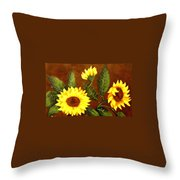 Sunflowers And Dewdrops Throw Pillow