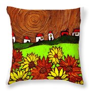 Sunflowers And Fields Throw Pillow