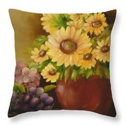 Sunflowers And Grapes Throw Pillow