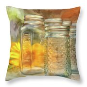 Sunflowers And Jars Throw Pillow