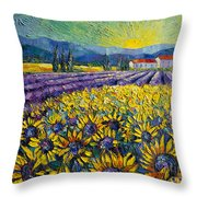 Sunflowers And Lavender Field - The Colors Of Provence Modern Impressionist Palette Knife Painting Throw Pillow