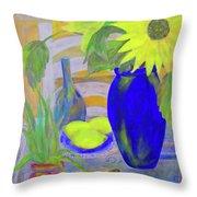 Sunflowers And Lemons Throw Pillow