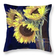 Sunflowers And Light Throw Pillow