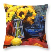 Sunflowers And Oranges Throw Pillow