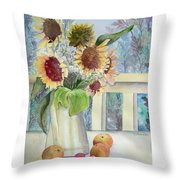 Sunflowers And Peaches Throw Pillow