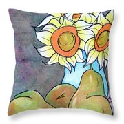 Sunflowers And Pears Throw Pillow