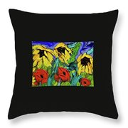 Sunflowers And Poppies - Little Treasures Series Throw Pillow