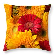 Sunflowers And Red Mums Throw Pillow