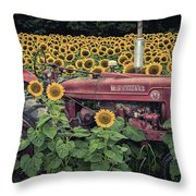 Sunflowers And Tractor Throw Pillow
