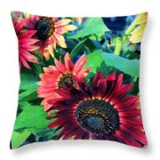 Sunflowers At A Fair Throw Pillow