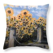 Sunflowers At Rest Stop Near Great Sand Dunes Throw Pillow