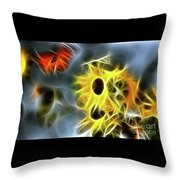 Sunflowers-butterfly-5233-fractal Throw Pillow