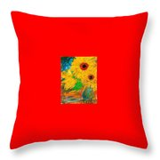 Sunflowers By The Lake Throw Pillow