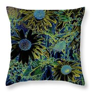 Sunflowers By Wall Throw Pillow