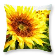Sunflowers Throw Pillow by Charlie Roman