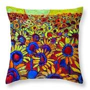 Sunflowers Field At Sunrise Throw Pillow