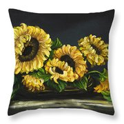 Sunflowers From The Garden Throw Pillow