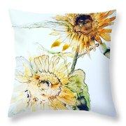 Sunflowers II Throw Pillow by Monique Faella