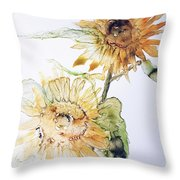 Sunflowers II Uncropped Throw Pillow by Monique Faella