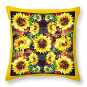 Sunflowers Impressionism Pattern Throw Pillow