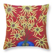 Sunflowers In A Blue Vase Throw Pillow