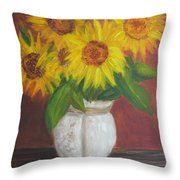 Sunflowers In A Clay Pot Throw Pillow