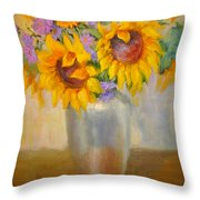 Sunflowers In A Silver Vase Throw Pillow