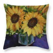Sunflowers In A Square Vase Throw Pillow