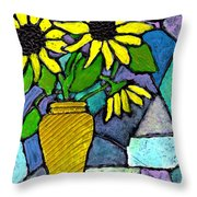Sunflowers In A Vase Throw Pillow