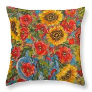 Sunflowers In Blue Pitcher. Throw Pillow