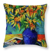 Sunflowers In Blue Vase Throw Pillow