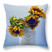 Sunflowers In Circle Vase Blue Tournesols Throw Pillow