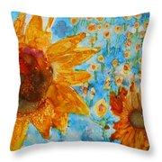 Sunflowers In Fields Throw Pillow