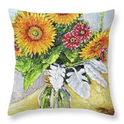 Sunflowers In Glass Vase Throw Pillow