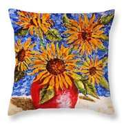 Sunflowers In Red Vase. Throw Pillow